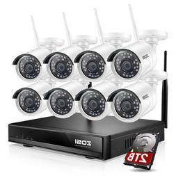 ZOSI 4CH 8CH 2MP Security Camera System HD 1080P Outdoor Vid