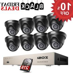 ZOSI 8CH H.265+ HDMI DVR 1080P HD Outdoor CCTV Home Security