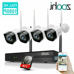 ZooHi 1080p Home Security Camera System Wireless Outdoor CCT