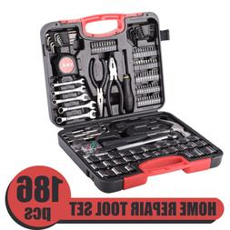 186 Pieces Home Repair Tool Kit Carbon Steel for Household U