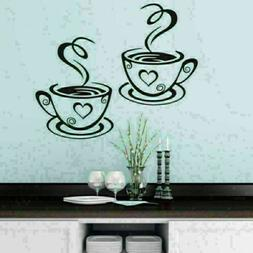 1PC Coffee Cups Cafe Tea Wall Stickers Art Vinyl Decal Kitch
