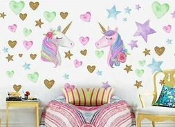 2 Sheets Unicorn Stickers Wall Decals for Bedroom, Removable