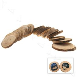 24 Wood Round Discs Slices With Hole for Home DIY Craft Hobb