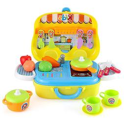 25pcs Pretend Play Kitchen Set for Kids Home Cooking Food To