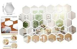 32 Pieces Removable Acrylic Mirror Setting Wall Sticker Deca