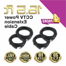 4 Packs 16.5 ft Power Extension Cable for CCTV Home Security