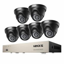ZOSI Outdoor Security Camera System 1080p 8 Channel DVR 6PCS