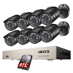 ZOSI 1080p Outdoor Security Camera System 8CH H.265+ 5MP Lit