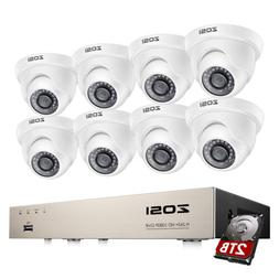 ZOSI 1080p Security Camera System with 8CH 5MP Lite DVR for