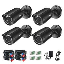 ZOSI 4PK 1080p TVI Security Cameras Outdoor 80ft Night Visio