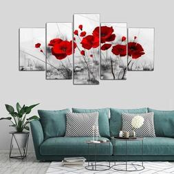 5 Panels Modern Canvas Painting Set Unframed Red Flowers Wal