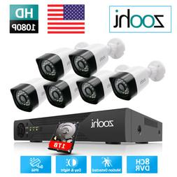 Zoohi 8CH CCTV Home 1080P Security Camera System Outdoor 5in