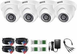 ZOSI 4 Pcs 720P TVI  IR Cut Night vision Outdoor Security CC