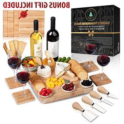Cheese Board Set: 13x13.4x2 Inch All Bamboo Tray with Slide