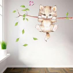 Cat Butterfly Cute Tree Branch Wall Stickers For Kids Rooms