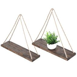 MyGift 17-Inch Distressed Wood Hanging Swing Rope Floating S