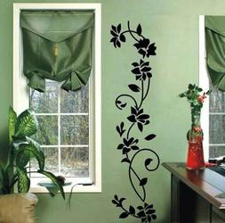 DIY Black Flower Vinyl Mural Decal Art Wall Sticker For Home