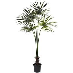 Nearly Natural Fan Palm Indoor/Outdoor UV Resistant Tree, 7'