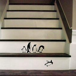Funny Falling penguins Decal Sticker for Home Door Stair Win