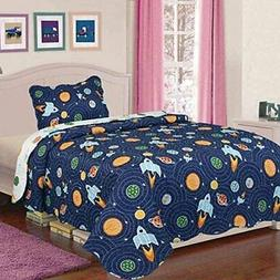 Home 2 pc Twin Size Bedspread Quilt Set Bedding for Kids Tee