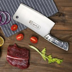 Kitchen 7'' Cleaver Knife Chopper Butcher Stainless Steel fo