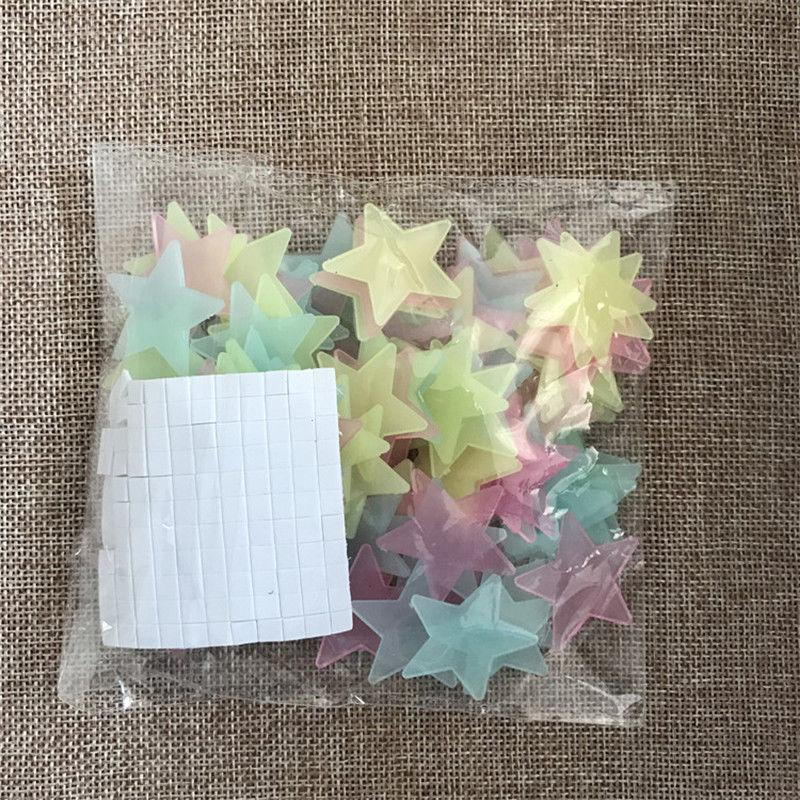 100 3D Stars for Kids Wall Decal Home Decor