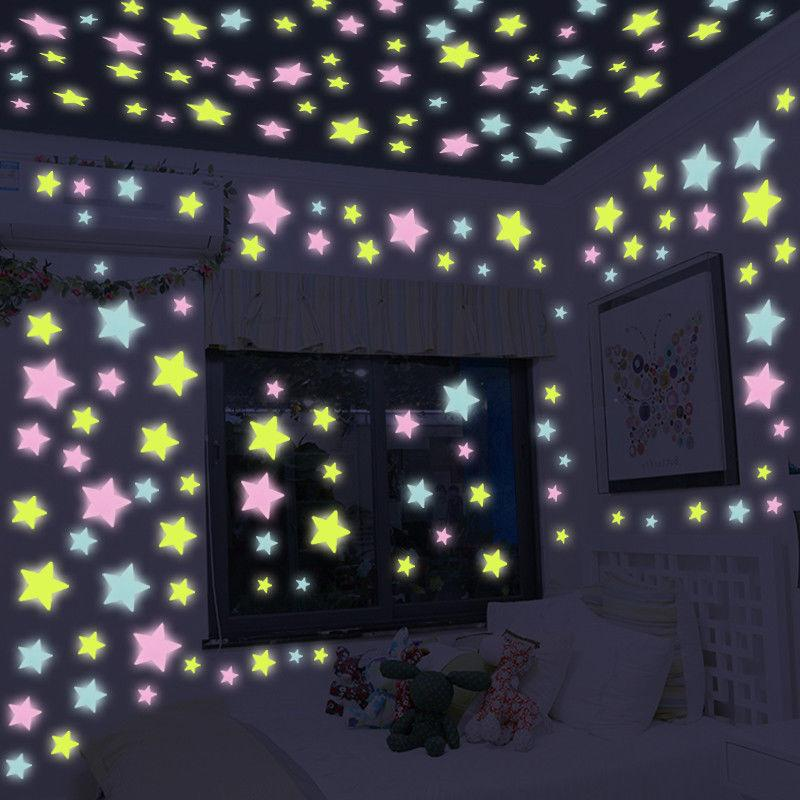 100 3D Stars Luminous on for Kids Room Decal Home