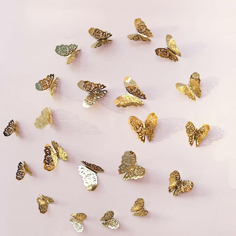 12 3D Hollow Wall Butterfly for Decoration New US ms