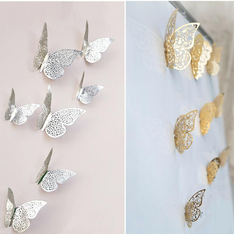 12 pcs 3d hollow wall stickers butterfly