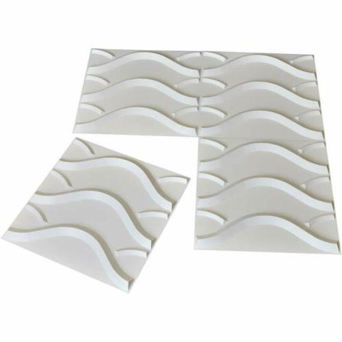 12pcs 3D Wall PVC Waterproof Wavy Modern 19.7×19.7""