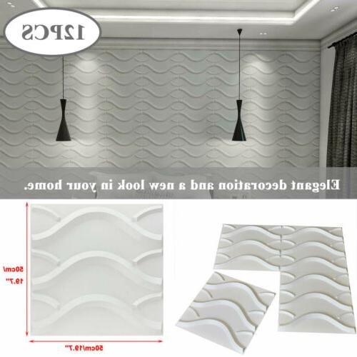 12pcs 3d wall panels pvc waterproof wavy