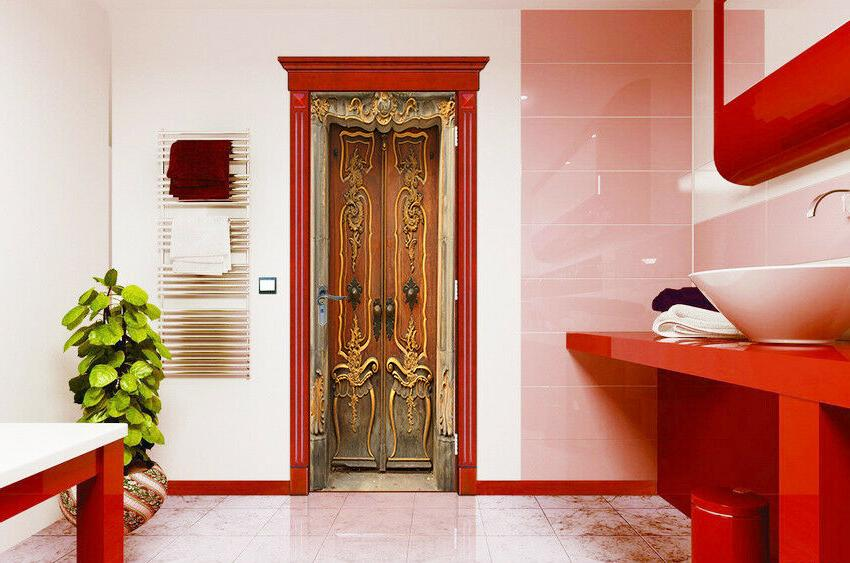 3D Simulation Retro Door Murals Self-adhesive Photo Hotel