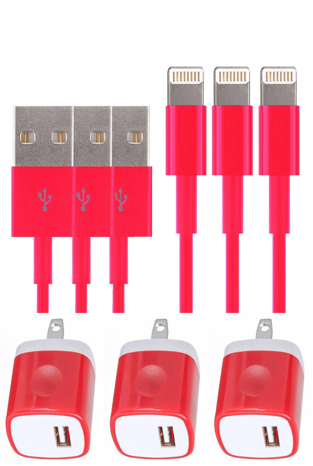 3X AC Charger 6 iPhone X 8 Sync USB Cable Cord