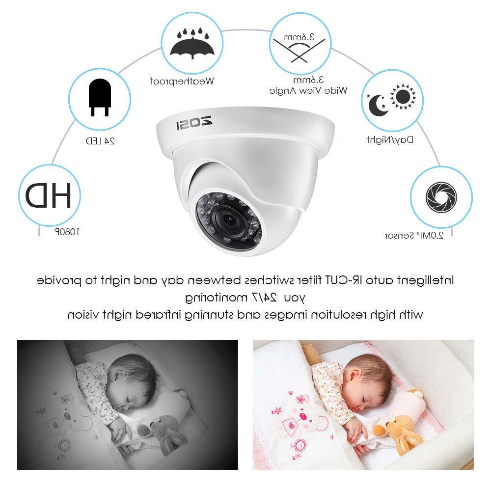 ZOSI 4CH Hybrid DVR 2MP Outdoor Dome Day Security Camera