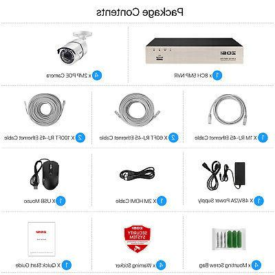 ZOSI 8CH NVR IP Security Camera 2MP CCTV