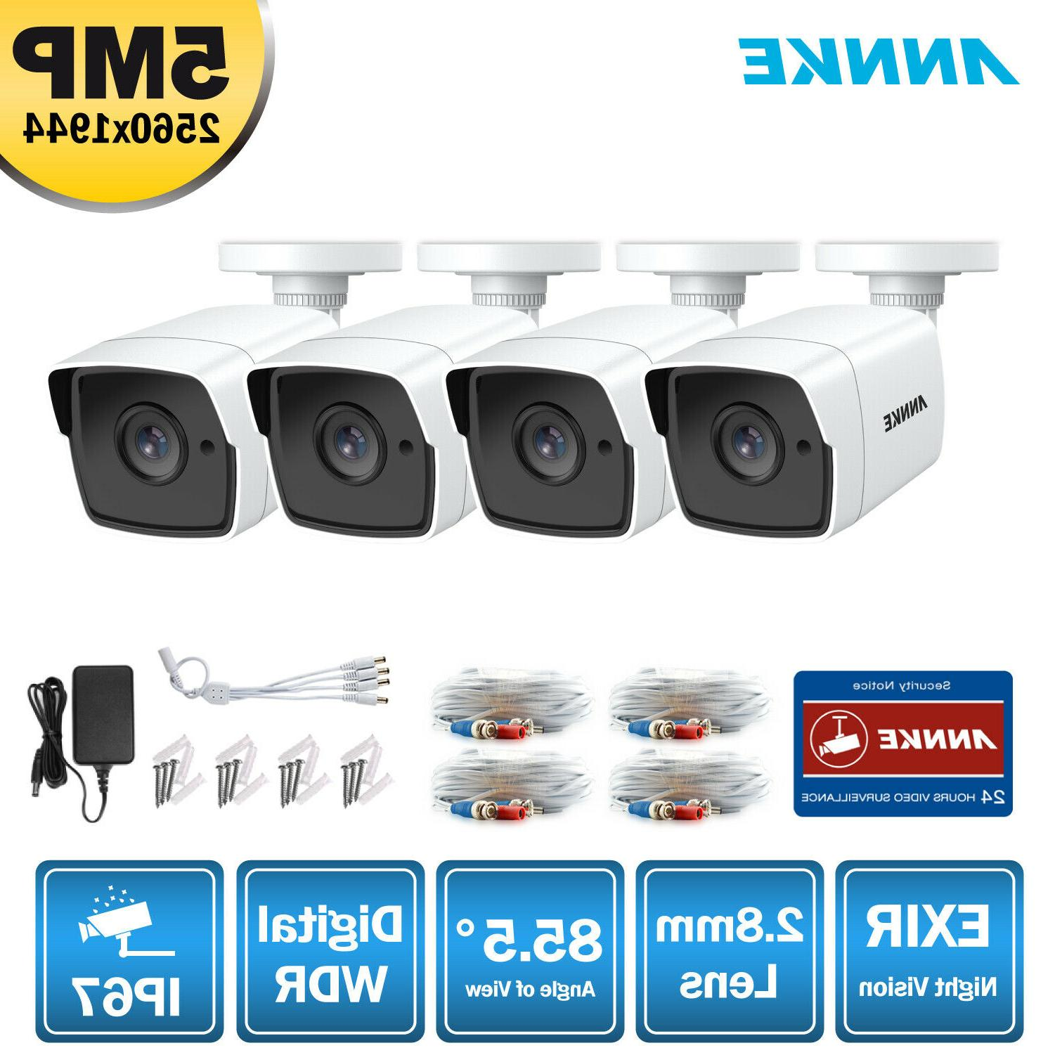 4x 5mp hd cctv camera ip67 outdoor