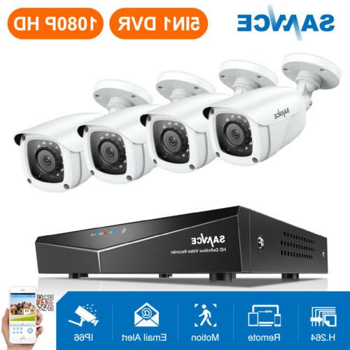 SANNCE 5in1 8CH 1080N DVR 1500TVL Outdoor Security Camera Sy