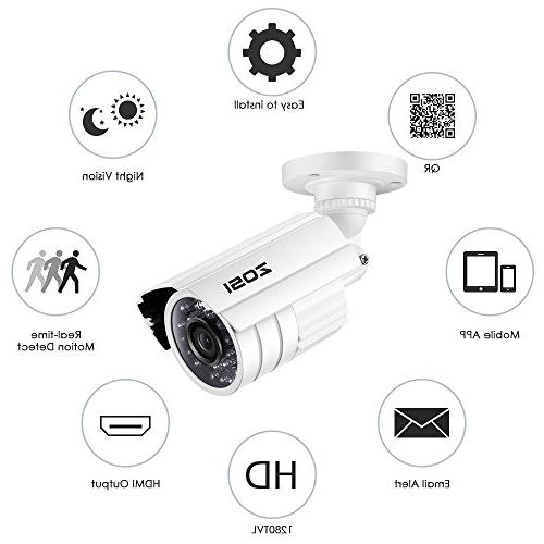 ZOSI Channel HD and 1.0MP 1280TVL Bullet Long