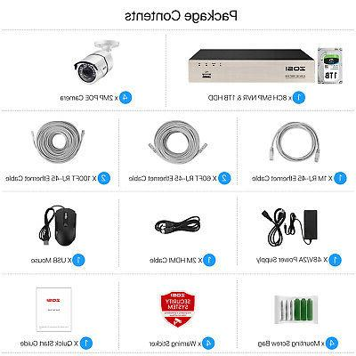 ZOSI 5MP 1T HDD 1080P POE IP Outdoor Security Camera