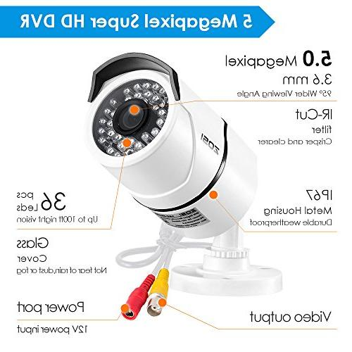 ZOSI Security Cameras System 2TB Hard 8 Super Megapixel Outdoor/Indoor Surveillance Bullet 8 5MP CCTV