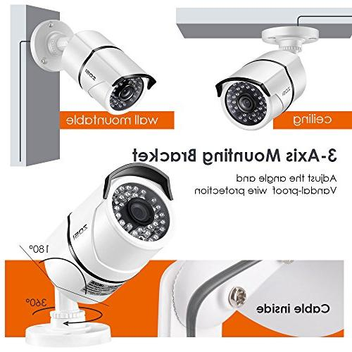 ZOSI Security 8CH 1080P DVR Recorder with 8 Weatherproof 2.0MP 1080P Vision Surveillance Cameras