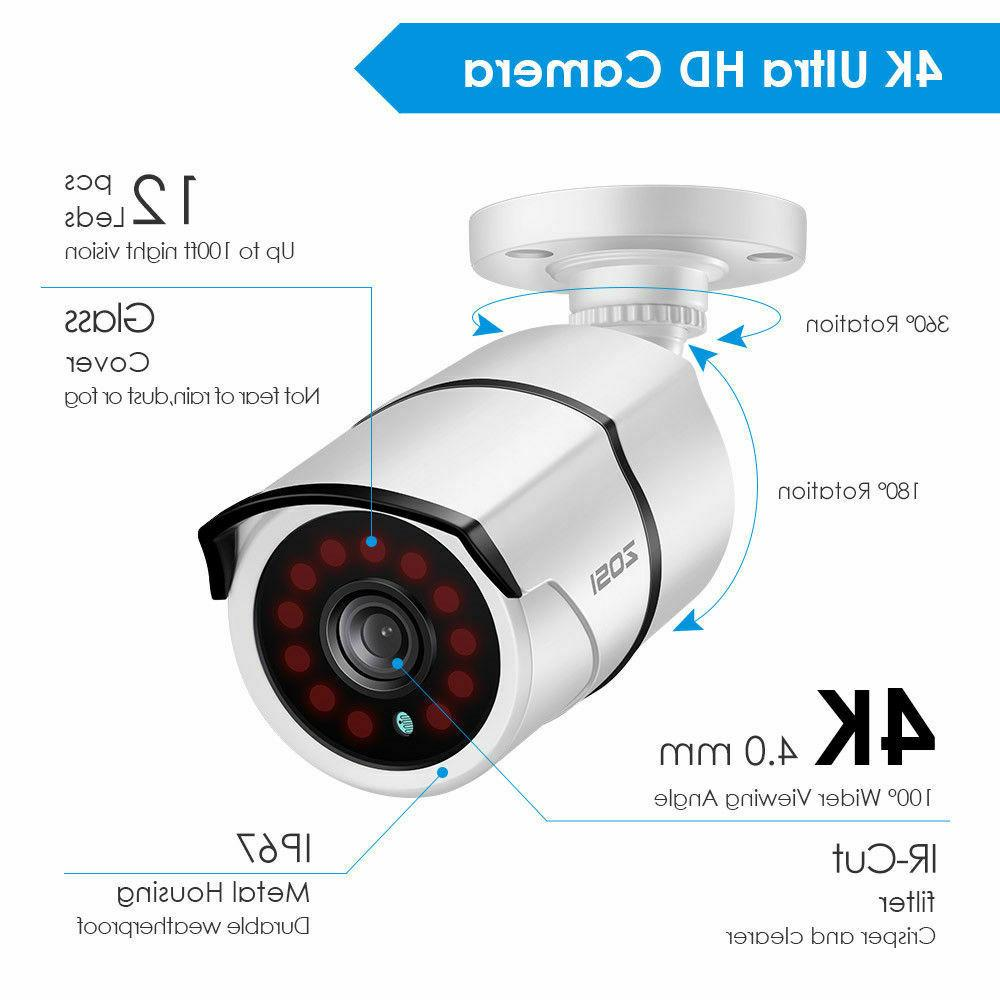 ZOSI Security Cameras 4CH H.265+ 2TB Hard