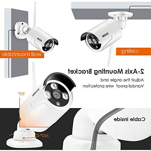 ZOSI Security Cameras System, WiFi NVR 100ft 720P Indoor Wireless CCTV Remote Access