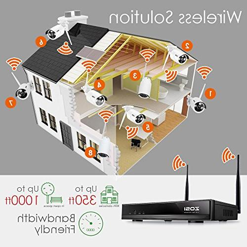 ZOSI Security System, 4CH WiFi 100ft 720P CCTV Cameras, Remote