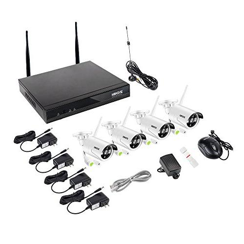 System, 4CH 100ft Night 720P Outdoor Wireless CCTV Smartphone Remote