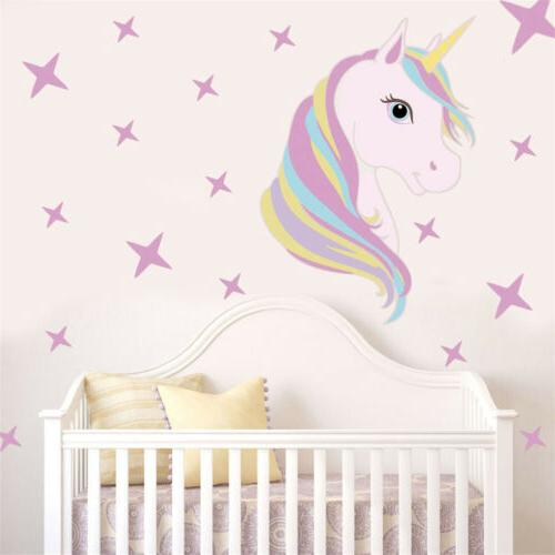 Beautiful Unicorn Horse Stars Wall Decals For Kids Girls Roo