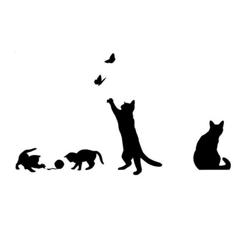 Black Removable Cat Wall Home Sticker DIY