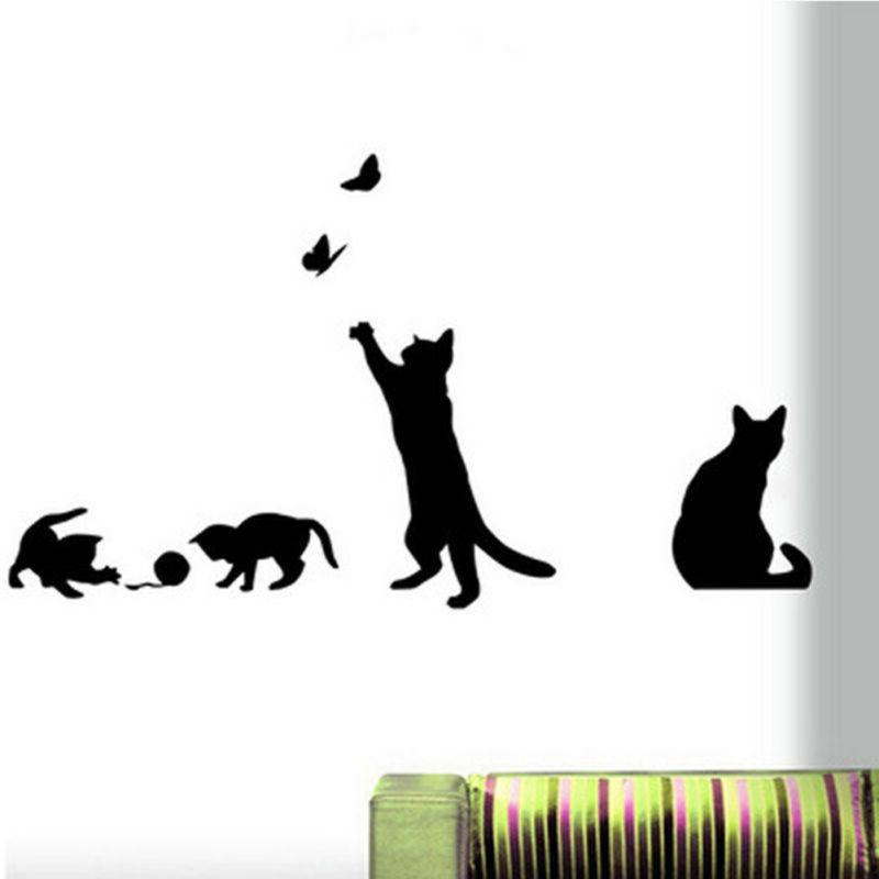 Black Removable Lamp Cat Wall Stickers for Home Stair DIY