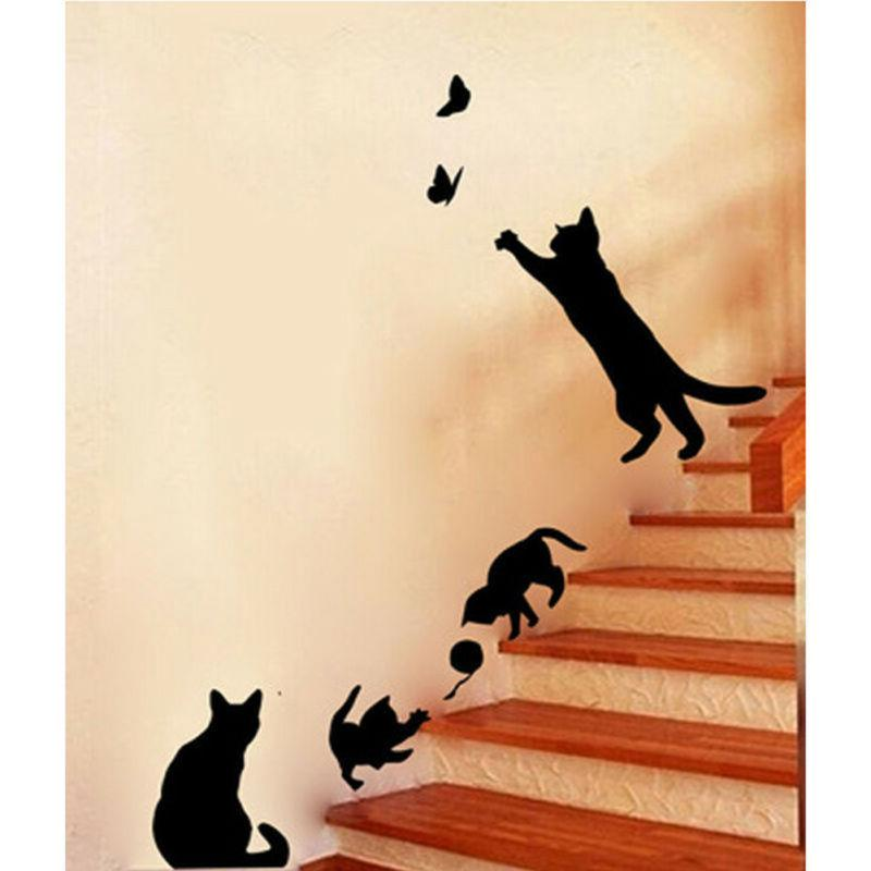 black removable lamp cat wall stickers decal