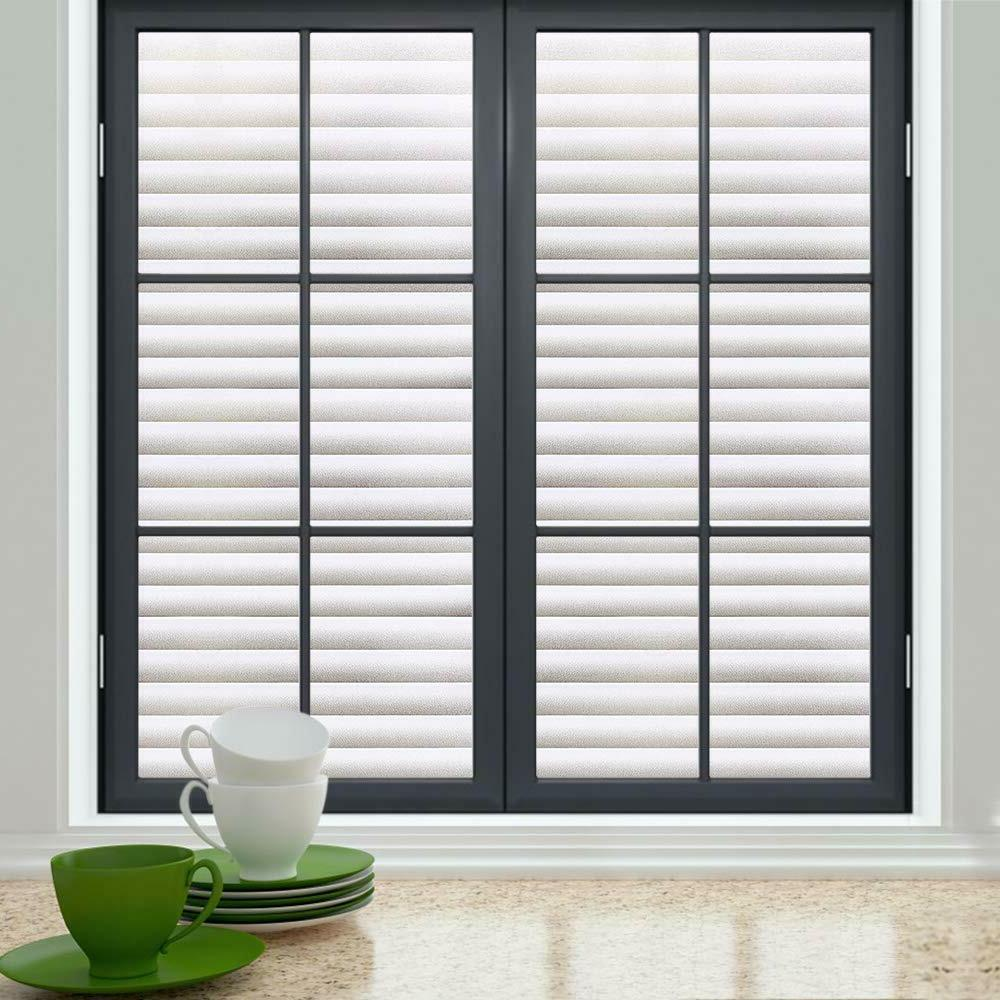 Rabbitgoo Blinds Window Film Pattern Cling Frosted White Home